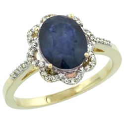 Natural 2.25 ctw Blue-sapphire & Diamond Engagement Ring 14K Yellow Gold - REF-52A3V