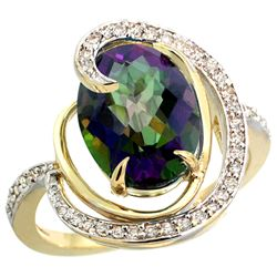 Natural 6.53 ctw mystic-topaz & Diamond Engagement Ring 14K Yellow Gold - REF-72K8R