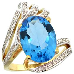Natural 5.76 ctw swiss-blue-topaz & Diamond Engagement Ring 14K Yellow Gold - REF-92W7K