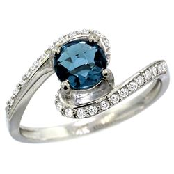 Natural 1.24 ctw london-blue-topaz & Diamond Engagement Ring 14K White Gold - REF-52Z7Y
