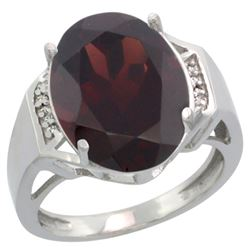 Natural 11.02 ctw Garnet & Diamond Engagement Ring 14K White Gold - REF-80W2K