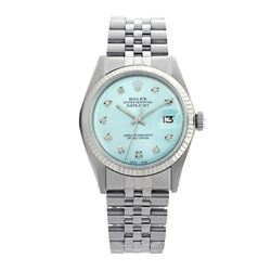 Rolex Pre-owned 36mm Mens Ice Blue Dial Stainless Steel - REF-460M4R