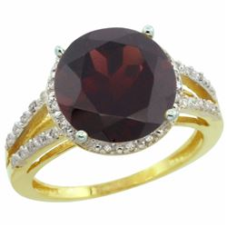 Natural 5.34 ctw Garnet & Diamond Engagement Ring 14K Yellow Gold - REF-52X3A