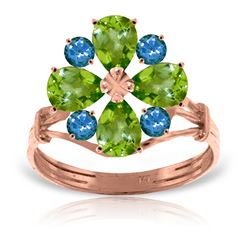 Genuine 2.43 ctw Peridot & Blue Topaz Ring Jewelry 14KT Rose Gold - REF-48P3H