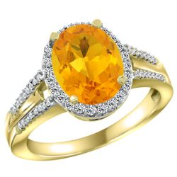 Natural 2.72 ctw citrine & Diamond Engagement Ring 14K Yellow Gold - REF-54W4K