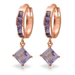 Genuine 3.8 ctw Amethyst Earrings Jewelry 14KT Rose Gold - REF-52P9H