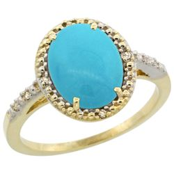 Natural 2.42 ctw Turquoise & Diamond Engagement Ring 14K Yellow Gold - REF-41F7N