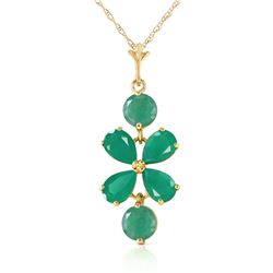 Genuine 3.15 ctw Emerald Necklace Jewelry 14KT Yellow Gold - REF-41M2T