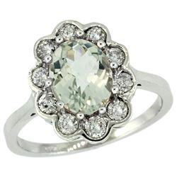 Natural 2.34 ctw Green-amethyst & Diamond Engagement Ring 14K White Gold - REF-81H4W