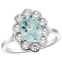 Natural 2 ctw Aquamarine & Diamond Engagement Ring 14K White Gold - REF-88M3H