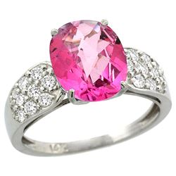 Natural 2.75 ctw pink-topaz & Diamond Engagement Ring 14K White Gold - REF-58F4N
