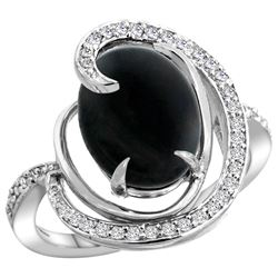 Natural 2.54 ctw onyx & Diamond Engagement Ring 14K White Gold - REF-65M8H