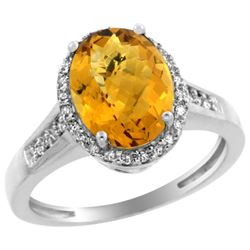 Natural 2.49 ctw Whisky-quartz & Diamond Engagement Ring 14K White Gold - REF-41N2G