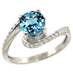 Natural 1.24 ctw swiss-blue-topaz & Diamond Engagement Ring 10K White Gold - REF-42W9K