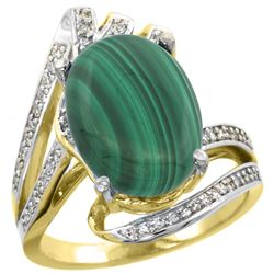 Natural 7.28 ctw malachite & Diamond Engagement Ring 14K Yellow Gold - REF-86M7H
