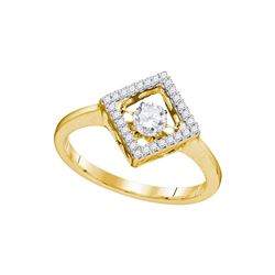0.19 CTW Diamond Solitaire Diagonal Square Ring 10KT Yellow Gold - REF-33F8N