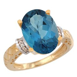 Natural 5.53 ctw London-blue-topaz & Diamond Engagement Ring 14K Yellow Gold - REF-62G2M