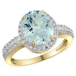 Natural 2.56 ctw Aquamarine & Diamond Engagement Ring 14K Yellow Gold - REF-52M2H