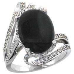 Natural 3.5 ctw onyx & Diamond Engagement Ring 14K White Gold - REF-86F5N