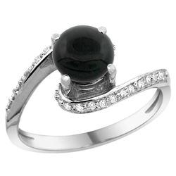 Natural 0.88 ctw onyx & Diamond Engagement Ring 14K White Gold - REF-51W4K