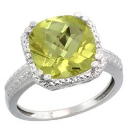 Natural 5.96 ctw Lemon-quartz & Diamond Engagement Ring 14K White Gold - REF-40V5F