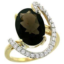 Natural 5.89 ctw Smoky-topaz & Diamond Engagement Ring 14K Yellow Gold - REF-91K4R