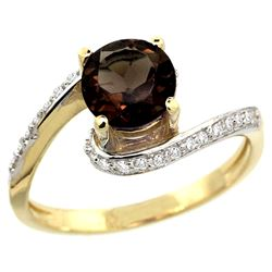 Natural 1.24 ctw smoky-topaz & Diamond Engagement Ring 10K Yellow Gold - REF-42F9N