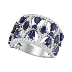 3.95 CTW Pear Prong-set Blue Sapphire Openwork Ring 18KT White Gold - REF-240M2H