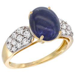Natural 2.85 ctw lapis-lazuli & Diamond Engagement Ring 14K Yellow Gold - REF-56V7F