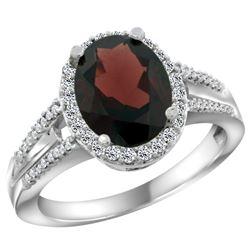 Natural 2.72 ctw garnet & Diamond Engagement Ring 10K White Gold - REF-47N7G