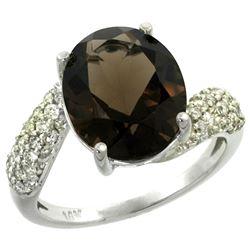 Natural 6.45 ctw smoky-topaz & Diamond Engagement Ring 14K White Gold - REF-54F3N