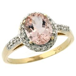 Natural 1.24 ctw Morganite & Diamond Engagement Ring 10K Yellow Gold - REF-31Z5Y