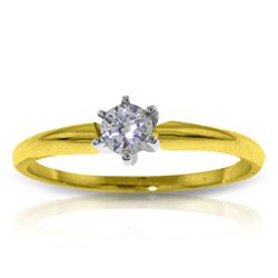 Genuine 0.15 ctw Diamond Anniversary Ring Jewelry 14KT Yellow Gold - REF-44T4A