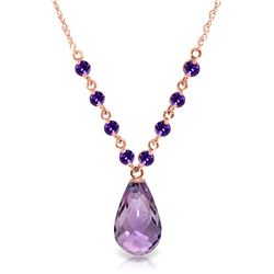 Genuine 11.50 ctw Amethyst Necklace Jewelry 14KT Rose Gold - REF-34Y7F