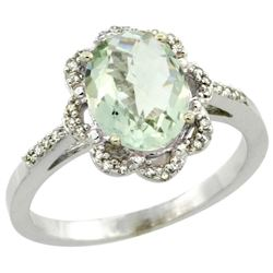 Natural 1.85 ctw Green-amethyst & Diamond Engagement Ring 14K White Gold - REF-38Z6Y