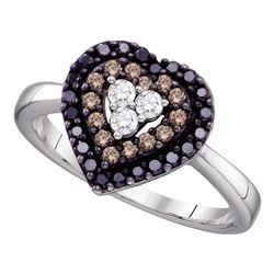 0.50 CTW Black Color Diamond Heart Love Ring 14KT White Gold - REF-40N4F