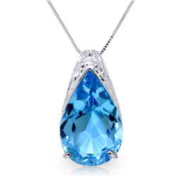 Genuine 6 ctw Blue Topaz Necklace Jewelry 14KT White Gold - REF-28Z3N