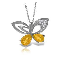 Genuine 3.28 ctw Citrine & Diamond Necklace Jewelry 14KT White Gold - REF-110A4K