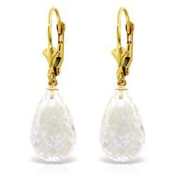 Genuine 14 ctw White Topaz Earrings Jewelry 14KT Yellow Gold - REF-28A5K