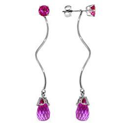 Genuine 6.8 ctw Pink Topaz Earrings Jewelry 14KT White Gold - REF-39M3T