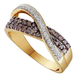 0.49 CTW Cognac-brown Color Diamond Crossover Ring 14KT Yellow Gold - REF-49M5H