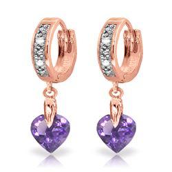 Genuine 1.77 ctw Amethyst & Diamond Earrings Jewelry 14KT Rose Gold - REF-35W2Y