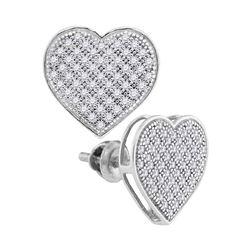0.33 CTW Diamond Heart Screwback Earrings 10KT White Gold - REF-24N2F