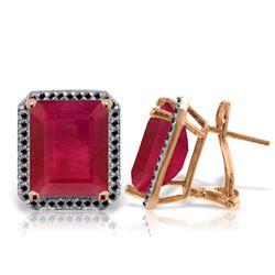 Genuine 14.9 ctw Ruby & Black Diamond Earrings Jewelry 14KT Rose Gold - REF-201R5P