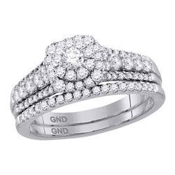 1.01 CTW Diamond Bridal Wedding Engagement Ring 14KT White Gold - REF-119M9H
