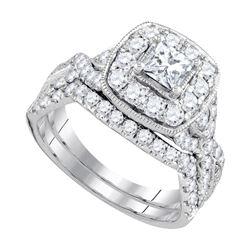 1.97 CTW Princess Diamond Bridal Engagement Ring 14KT White Gold - REF-269X9Y