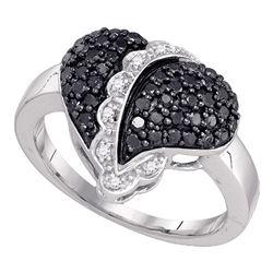 0.64 CTW Black Color Diamond Heart Cluster Ring 10KT White Gold - REF-34K4W