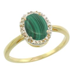 Natural 1.69 ctw Malachite & Diamond Engagement Ring 10K Yellow Gold - REF-19X3A
