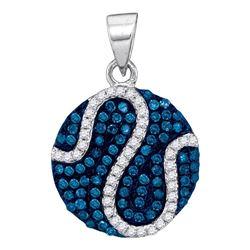 0.45 CTW Blue Color Diamond Circle Pendant 10KT White Gold - REF-22X4Y