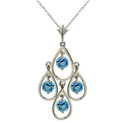 Genuine 1.20 ctw Blue Topaz Necklace Jewelry 14KT White Gold - REF-30P7H